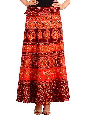 Sanganeri Wrap-Around Long Skirt with Printed Peacocks and Elephants