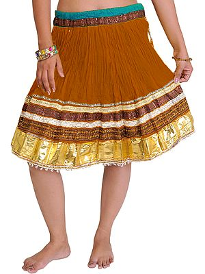 Mini-Skirt Ghagra from Jaipur with Gota Border