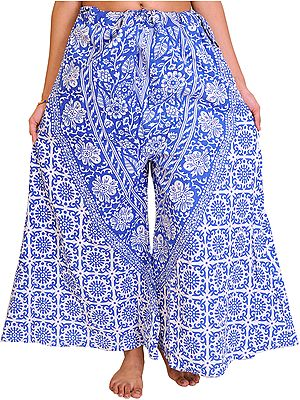 Palazzo Pants from Pilkhuwa with Printed Flowers and Elephants