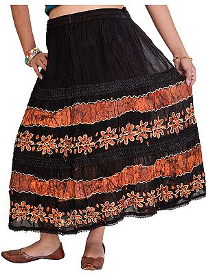 Long Embroidered Skirt with Batik Print and Lace