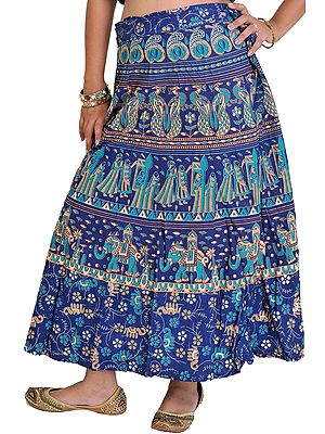 Wrap-Around Sanganeri Skirt with Printed Marriage Procession