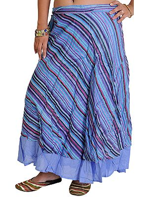 Wrap-Around Layered Midi Skirt with All-Over Woven Stripes