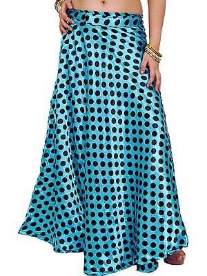 Wrap-Around Skirt with All-Over Polka Printed Dots