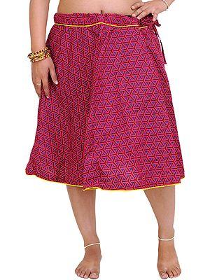 Drawstring Printed Short Skirt with Piping