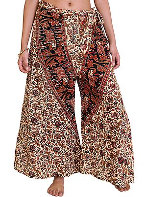 Casual Palazzo Pant from Pilkhuwa with Printed Flowers and Elephants