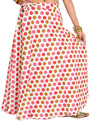 Wrap-Around Skirt with All-Over Printed Polka Dots