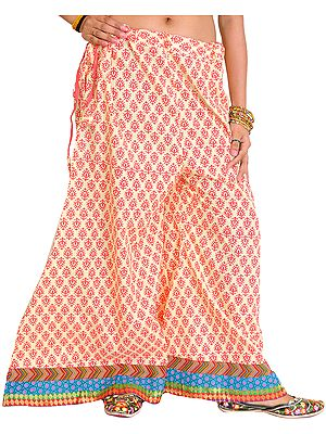 Casual Palazzo Pants from Pilkhuwa with Printed Leaves and Patch Border