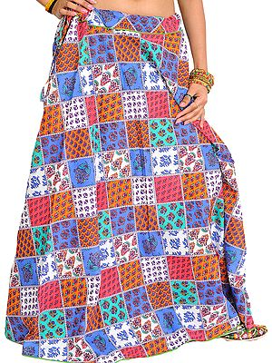 Floral Printed Long Patchwork Skirt with Piping