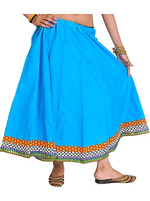Plain Midi Skirt from Pilkhuwa with Patch Border