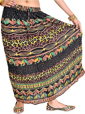 Long Skirt with Printed Leopard-Spots