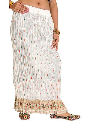Crushed Long Boho Skirt with Printed Bootis