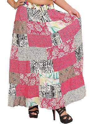 Long Printed Boho Skirt from Gujarat with Patch Work