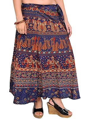 Wrap-Around Midi Skirt from Pilkhuwa with Printed Procession