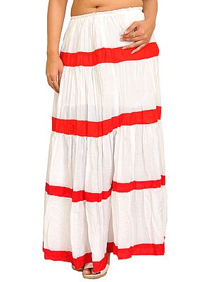 Casual Long Elastic Skirt with Solid Stripes
