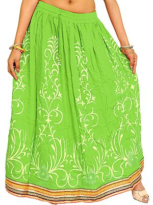 Printed Long Skirt with Embellished Patch Border