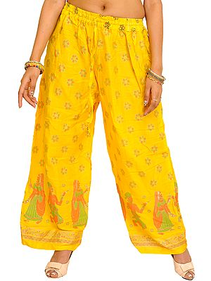 Casual Wide Yoga Trousers with Printed Dancing Couples
