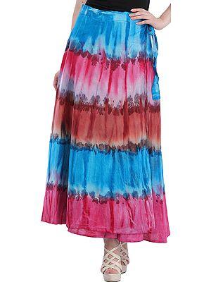 Batik-Dyed Wrap-Around Long Skirt