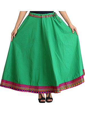 Plain Long Ghagra Skirt with Embroidered Patch Border