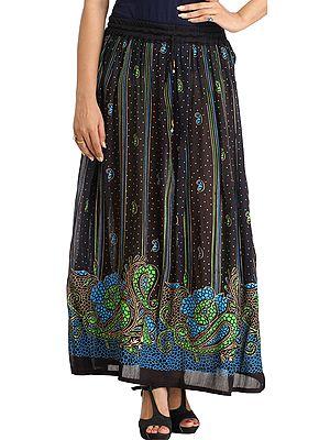 Black Long Elastic Skirt with Printed Paisleys and Bootis