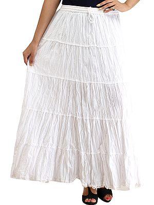 Plain Casual Elastic Long Skirt with Crochet Border
