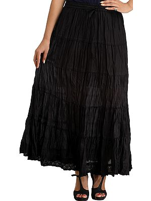Plain Casual Elastic Long Skirt with Crochet Border