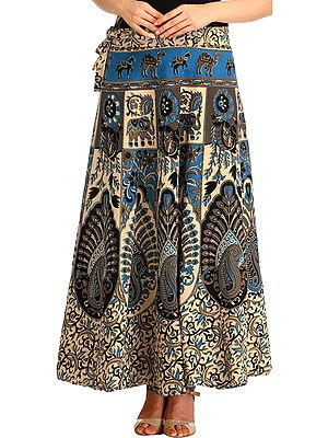 Cream Floral Printed Wrap-Around Long Skirt from Pilkhuwa