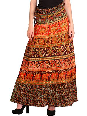 Wrap-Around Long Skirt from Pilkhuwa with Printed Animals