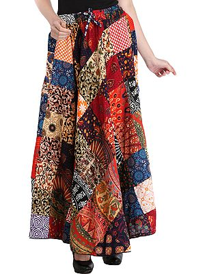 Casual Long Ghagra Skirt with Printed Patch-work