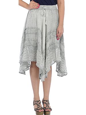 Midi Skirt with Thread-Embroidery in Self
