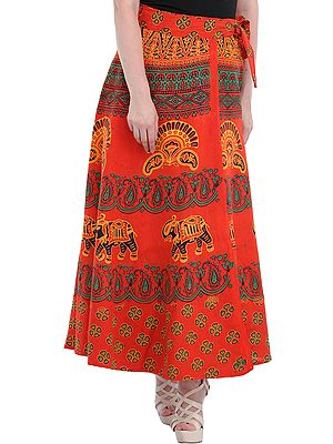 Wrap-Around Long Skirt from Pilkhuwa with Printed Paisleys and Elephants
