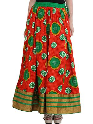 Printed Long Skirt from Jodhpur with Golden Border