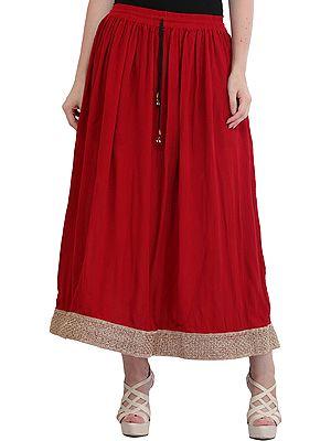 Plain Elastic Long Skirt with Golden Border