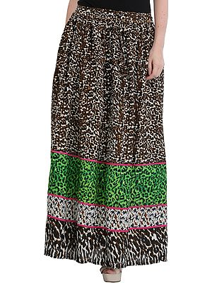Brown Elastic Long Skirt with Printed Leopard-Spots