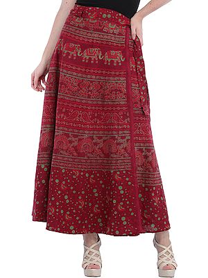 Wrap-Around Long Skirt from Pilkhuwa with Printed Peacocks and Elephants