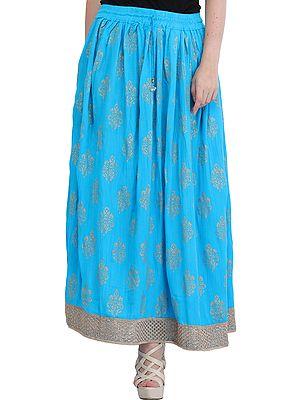 Long Skirt with Printed Large Bootis and Gota Border