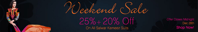 Mega Salwaar Kameez Sale... 25% + 20% off on all Salwaar Kameez and Made to Order items