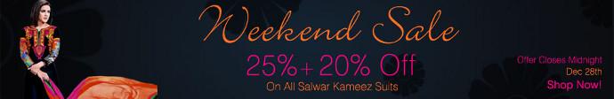 Mega Salwaar Kameez Sale... 25% + 20% off on all Salwaar Kameez and Made to Order items